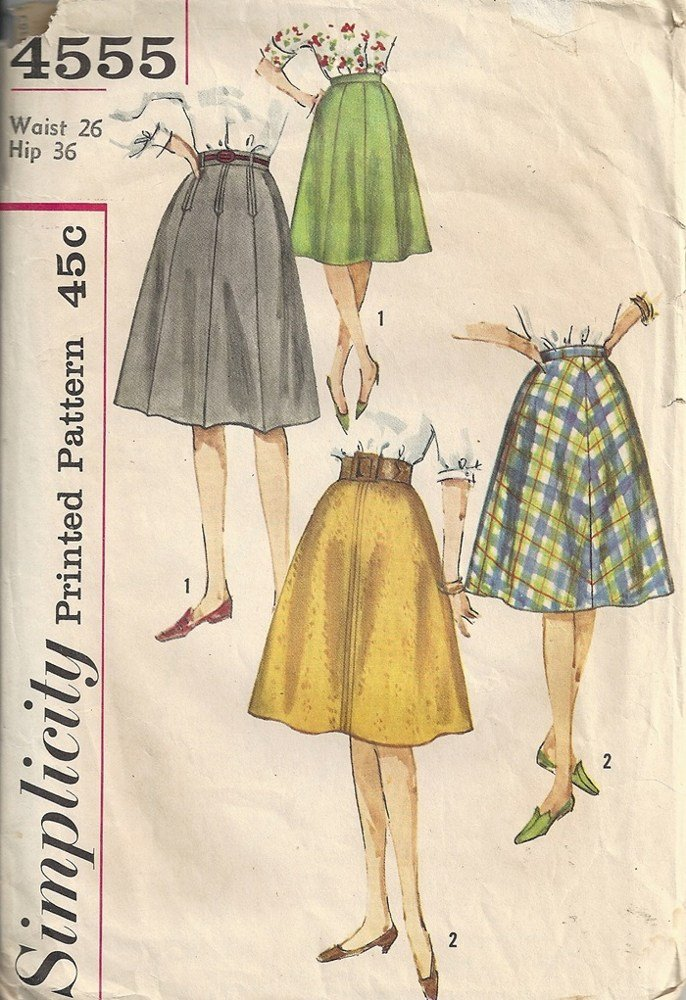 Simplicity 4555 Misses Skirts 60s Vintage Sewing Pattern Waist 26 Hip 36