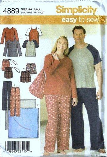Simplicity 4889 Men, Women Pajamas, Bag Sewing Pattern Size S, M, L