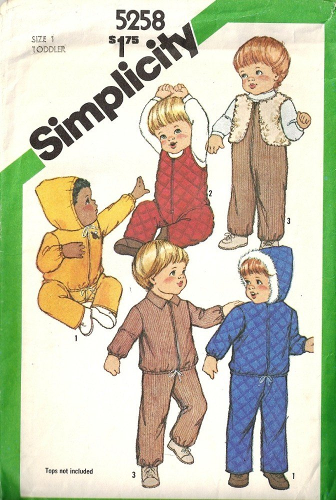 Simplicity 5258 Boy, Girl Jacket, Overalls Vintage Sewing Pattern Size 1