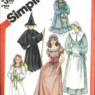 Simplicity 5741 Girls Pilgrim Witch Angel Costume Sewing Pattern 2 - 4