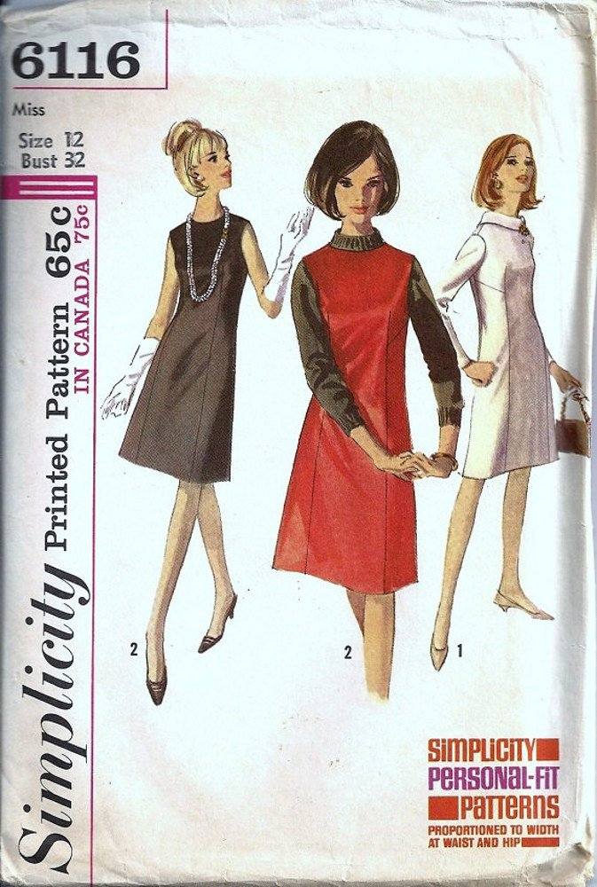 Simplicity 6116 Misses Dress, Jumper 60s Vintge Sewing Pattern Size 12