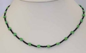black & green daisy chain child's necklace, handcrafted jewelry, artisan jewelry, children's jewelry