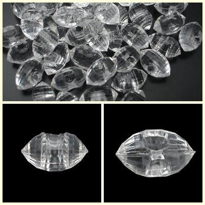 72pcs 24L Clear Crystal Rhinestone White Marquise Buttons 6 dozen