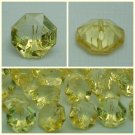 Lot 24 pcs 24L Clear Crystal Rhinestone Light Yellow Octagon 2 Hole Buttons