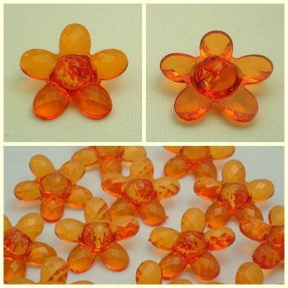 Lot 24 pcs 40L Clear Crystal Light Orange Flower 2 Hole Buttons