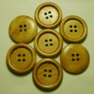 Lot 24 pcs 40L Handmade Wood Round Brown 4 Hole Buttons Premium Quality