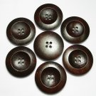 Lot 24 pcs 42L Handmade Wood Round Dark-Brown 4 Hole Buttons Premium Quality