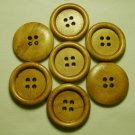 Lot 24 pcs 32L Handmade Wood Round Brown 4 Hole Buttons Premium Quality