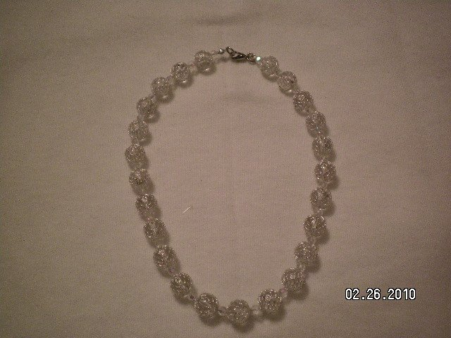 Swarosky Silver Beaded Necklace