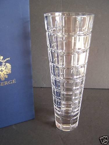 "FABERGE Crystal Metropolitan Tall Vase 13"" NIB"