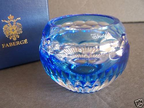 FABERGE Light Blue Crystal Nadya Votive Candle Hold NIB
