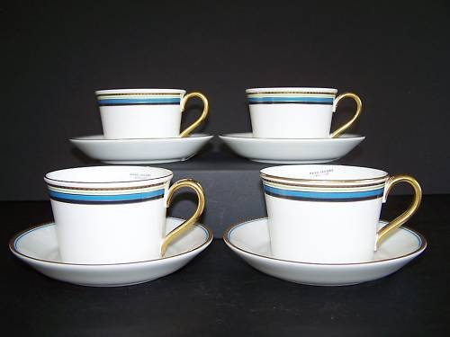 WATERFORD Marc Jacobs David Ocean Cup Saucers Set/4 New