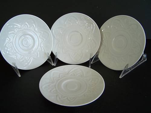 WATERFORD Grafton Street Iveagh Border Saucer Set/4 New