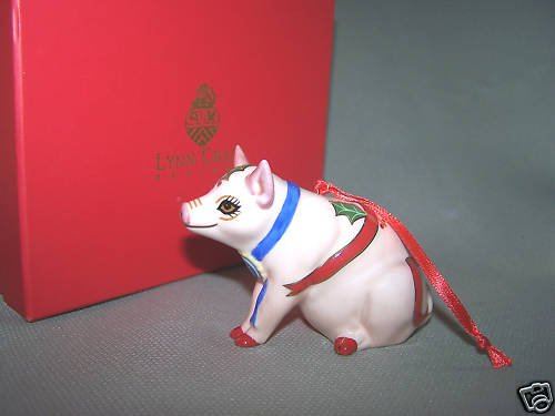 LYNN CHASE Christmas Pig Porcelain Ornament NIB