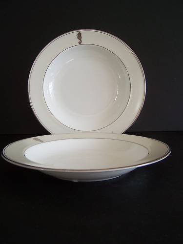 WATERFORD China Sea Horse Ivory Rim Soup Plates S/2 New