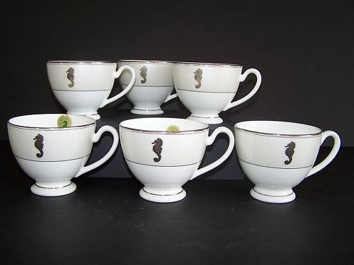 WATERFORD Fine China Sea Horse Ivory Tea Cups Set/6 New