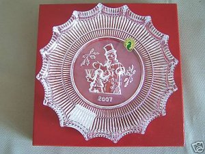 WATERFORD Crystal Christmas Plate Jolly Snowman 2007 NIB