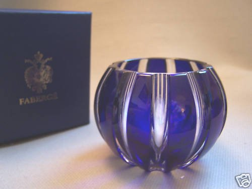 FABERGE Cobalt Blue Crystal Parallele Votive Holder NIB