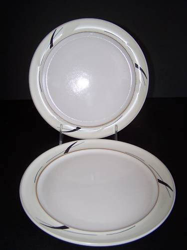 DENBY Oyster Strands Wide Rimmed Tea Plates Set/2 New