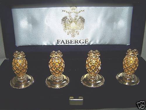FABERGE Imperial Egg Place Card Holders Set of 4 NIB