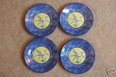Lynn Chase Saucer African Inspirations Blue/Green Set of 4 New