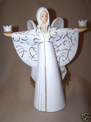 """GOEBEL Angel MARA 11"""" White Figurine Candle Holder NIB"""