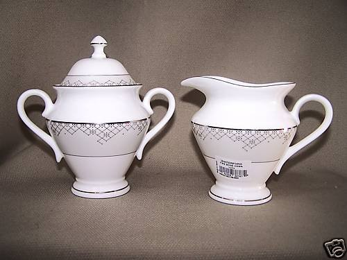 WATERFORD China Giselle Sugar Bowl and  Creamer Set New