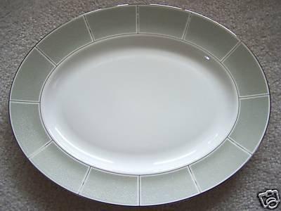 WEDGWOOD Shagreen Jade Oval Serving Platter Dish New