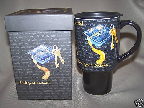 LANG Ceramic Travel Mug Key To Success P. Joerling NIB