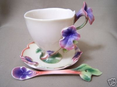 FRANZ Porcelain Sage Herb Cup Saucer Spoon Set New
