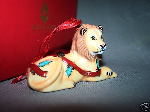 LYNN CHASE Christmas Lion Porcelain Ornament NIB