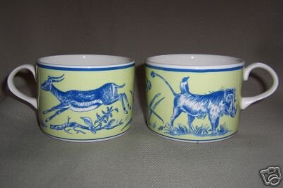 Lynn Chase Cup African Inspirations Blue Green Set of 2 New