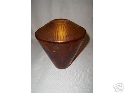Murano Art Glass Amber Vase Short by Salviati New