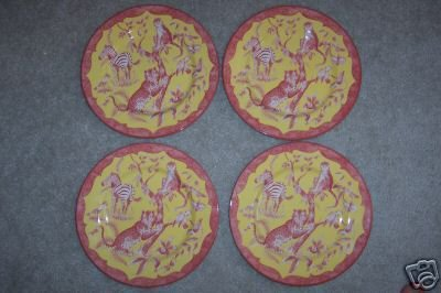 Lynn Chase Salad Plate African Inspirations Set 4  Cranberry Yellow New