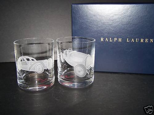 RALPH LAUREN Crystal Vintage Car DOF Glasses Set/2 NIB