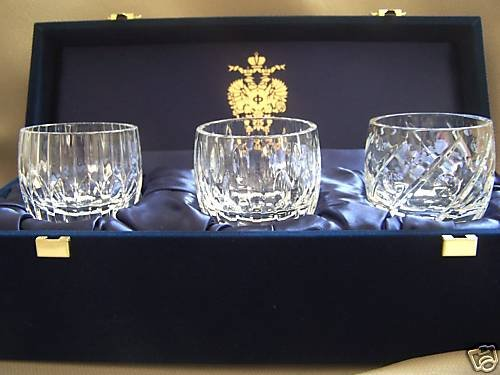 FABERGE Clear Crystal Votives Assorted Set of 3 NIB