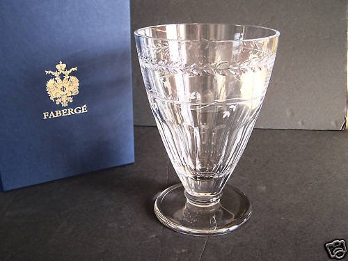 "FABERGE Atelier Crystal Luxembourg Footed Vase 10"" NIB"