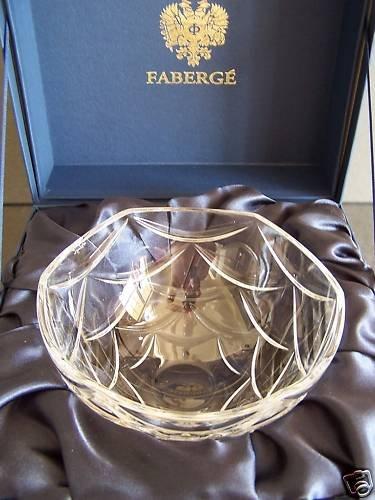 """FABERGE Crystal Clear Pine Cone Bowl 7"""" NIB"""