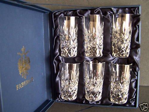 FABERGE Crystal D'Arcy Shot Vodka Glasses Set/6 NIB