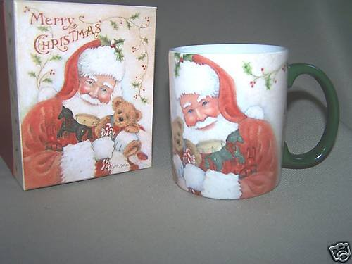 LANG Ceramic Mug Holly Santa by Shelly Buck Baldwin NIB