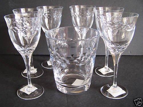 FABERGE Olivia Ice Bucket and Wine Glasses Set/6 New