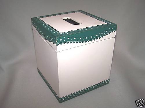 LABRAZEL Spectator Green Leather Tissue Box Cover Jamie Drake Italy New
