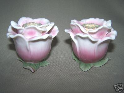 FRANZ Porcelain Camelia Flower Salt Pepper Shaker Set