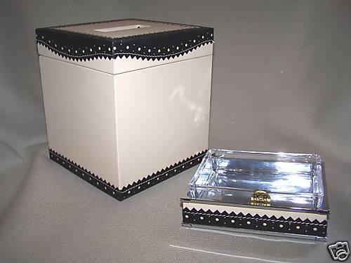 LABRAZEL Spectator Black Bath Leather Tissue Cover Soap Dish Set Jamie Drake