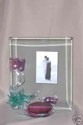 "Berni Art Glass Tulip Drip Picture Frame 8"" x 10"" New"