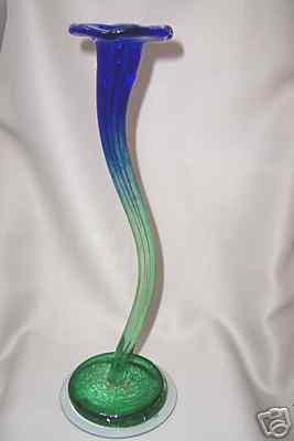 Berni Art Glass Tall Trumpet Taper Candle Holder New