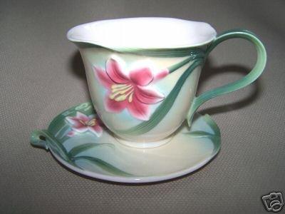 FRANZ Porcelain Autumn Lily Cup Saucer Set New