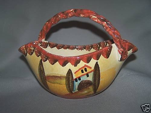 ITALICA ARS Oval Bowl w/Handle Hand Painted Pottery New