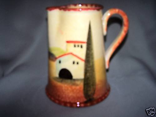 ITALICA ARS Large Pitcher Hand Painted Pottery New
