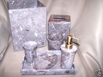 LABRAZEL Gray Marble Bath Accessories Large Set New